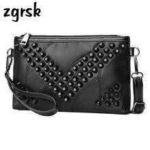 Clutch Sheepskin Genuine Leather Women Wallet Lady Rivet Crossbody Handbag Purse Bolsas Feminina Ladies Hand Bags Beach Bag