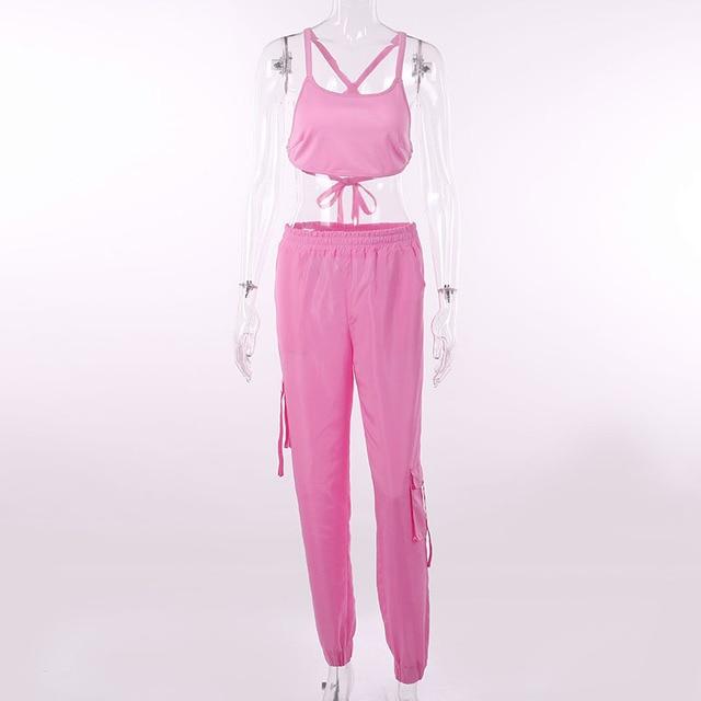 BOOFEENAA Rosa Sexy Set Due Pezzi Crop Top e Pantaloni Cargo Abiti Streetwear Tuta di Estate Delle Donne Vestiti di Corrispondenza Set C68AE64 5