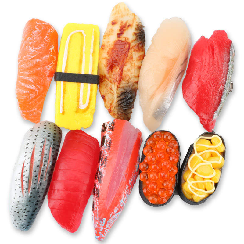 Image 2 - PVC Simulation Sushi Keychain Japan Food Model Toy Sashimi Eel Sea Urch Restaurant Toys For Children Creative Gift-in Action & Toy Figures from Toys & Hobbies
