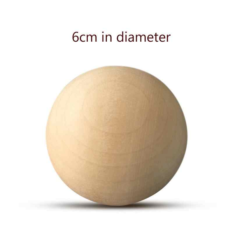 5-40G/Banyak 1-6 Cm Padat Kayu Bulat Bola untuk Perhiasan Manual DIY Aksesoris Kayu Warna Besar dicat Bola Kerajinan Persediaan