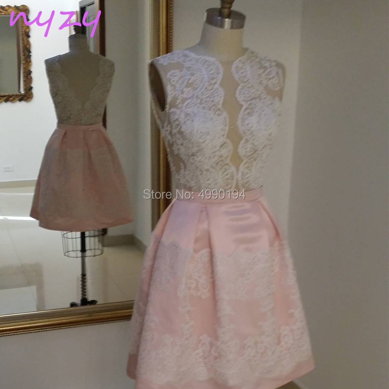 NYZY C59 Two Tone White Pink See-through Top Lace Robe   Cocktail     Dress   Short Party   Dress   Evening vestidos de festa curto 2019