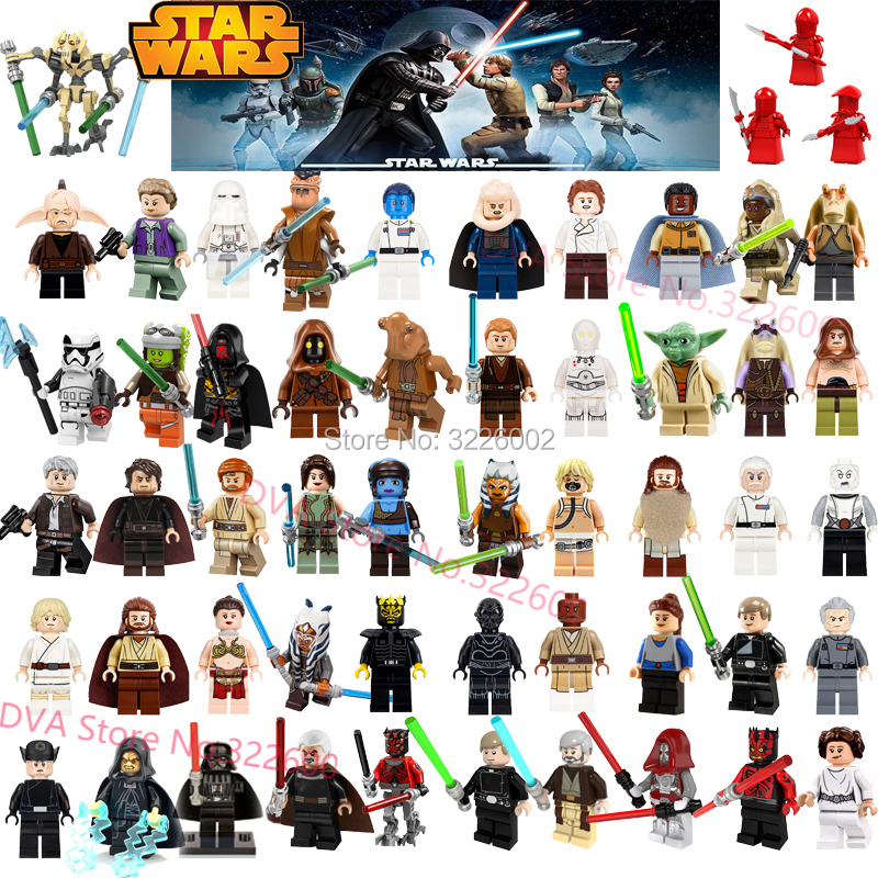 Star Wars C3po Starwars Figures Luke Dooku Anakin Han Solo Leia Yoda Darth Vader Jango Fett Obi Wan Model Building Blocks Toys(China)