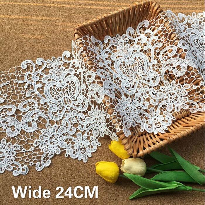 Hágalo usted mismo encaje blanco de banda elástica plana Ribete de Tela de Costura Artesanía encajes cinta 5M