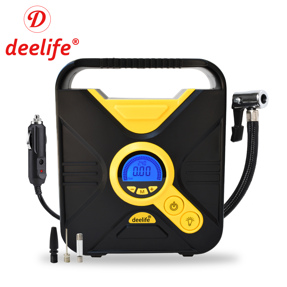 Deelife Digital Car Tire Inflatable Pump Auto Tyre Inflator for Cars Tires Electric 12V Mini Portable