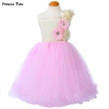 fc5238ccac4 Кремово-розовое платье-пачка с цветочным узором для девочек