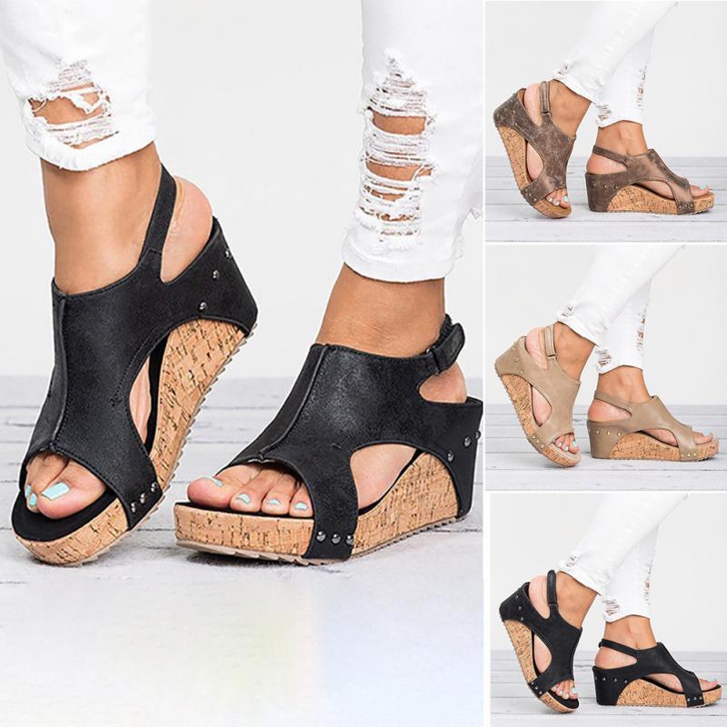 d34a02df668 Women Girls Summer Buckle Sandals Flock with Wide Open Toe High Platform  Wedge Heel with an Open Toe Female sandals-in High Heels from Shoes on ...