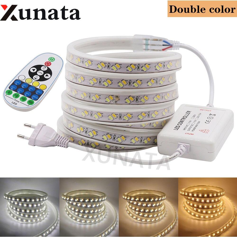 LED Strip Light AC220V SMD 5630 120Leds/m Smart Led Strip Waterproof Led Tape White, Warm White +23-key IR 750W Controller