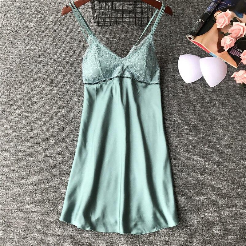 2019 Satin Nightsuits Women Nightwear Lace Nightdress Sexy Silk Ladies Nightgowns Pijamas Nightdress Sleepshirts with Chest Pads