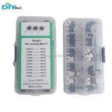 50pcs/lot DIYmall 10value*5pcs L78/LM317T TO-220 Transistor Assortment Kit With Plastic Box цена 2017
