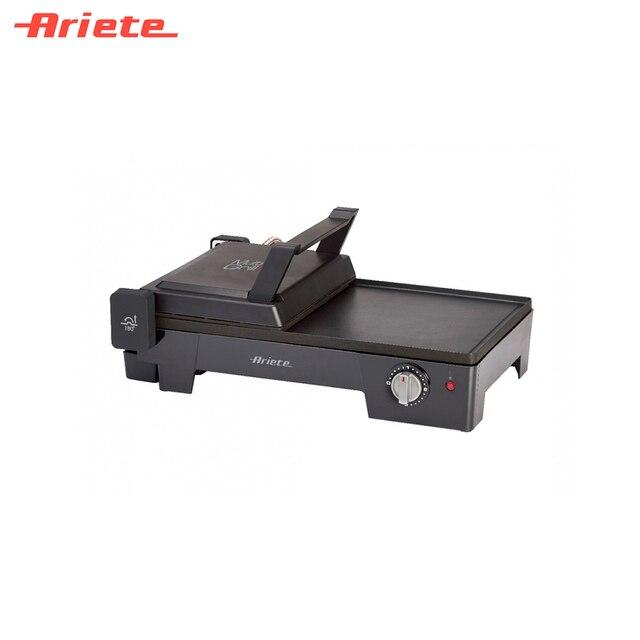 Гриль Ariete 1916 черный, 3 в 1 - контактный гриль, барбекю и электросковорода в одном приборе, компактный и универсальный