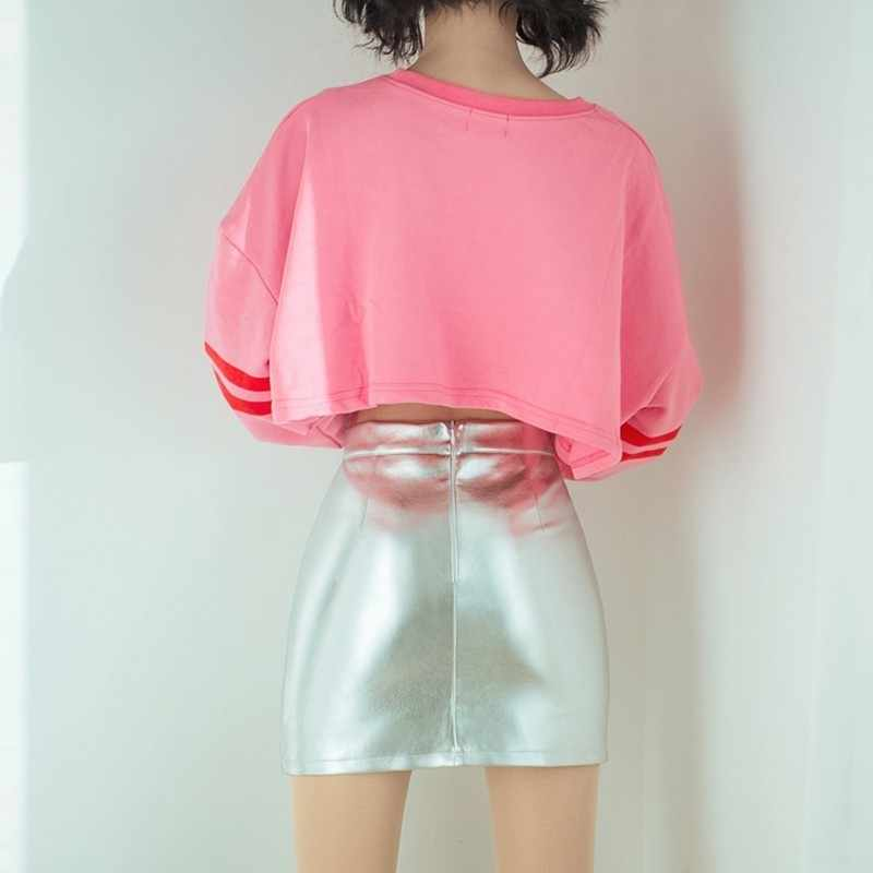 15a3d187571 ... TWOTWINSTYLE PU Leather Silver Women s Skirts Zipper High Waist A Line  Mini Skirts Female 2018 Autumn ...