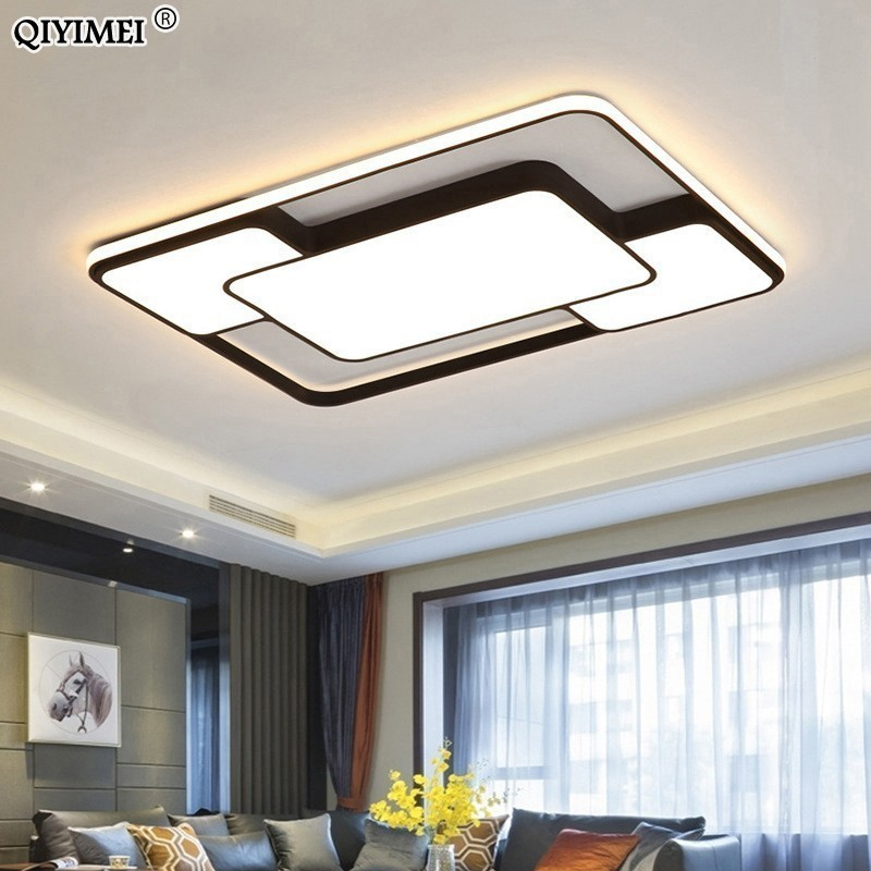 Modern Home Decor Led Chandelier Lighting Living Room Bedroom Decoration White Black Iron Body With Remote Control Free Shipping