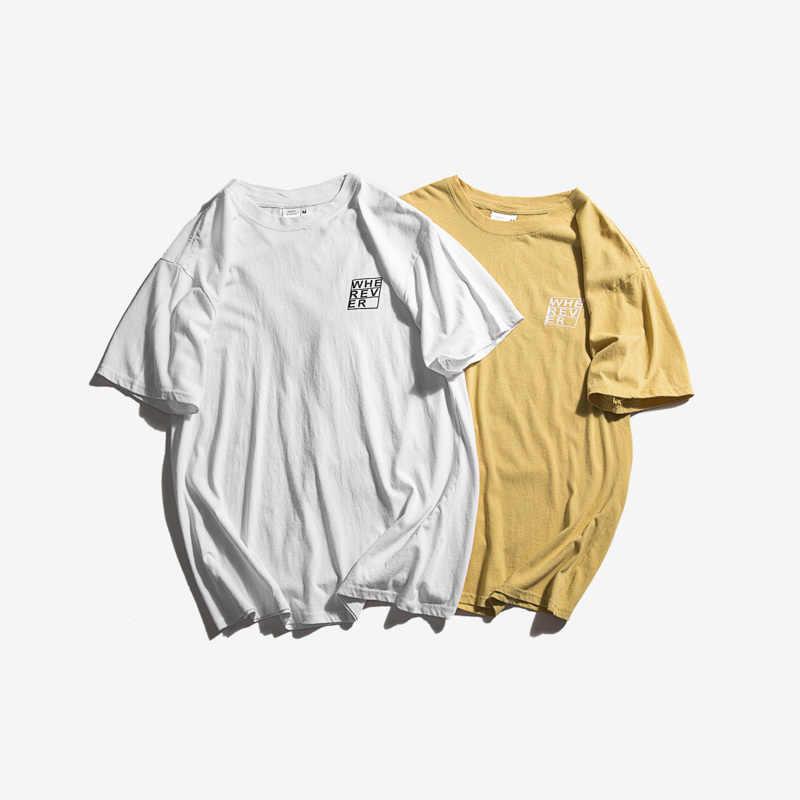 夏のファッションの手紙プリント Tシャツ半袖ストリート Tシャツメンズ Camisetas Hombre 白青黒色トップ Tシャツ原宿