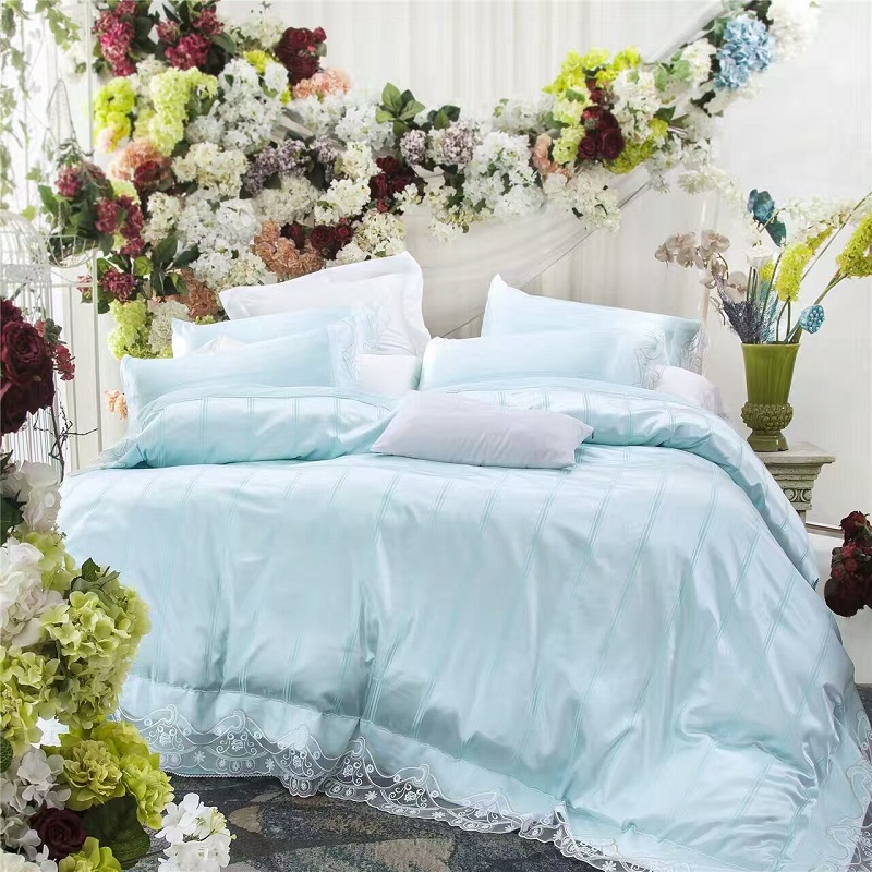 Luxury silk cotton Bedding set queen king size bed set blue green white pink color super soft bed linen duvet quilt cover set 38Luxury silk cotton Bedding set queen king size bed set blue green white pink color super soft bed linen duvet quilt cover set 38
