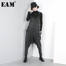 [[EAM] 2020 Mùa Xuân Mới Thu Đông Cao Cấp Đen Rời Lớn Bỏ Túi Chia Phần Hậu Cung Quần Jean Lưng Quần Nữ áo Liền Quần Thời Trang JO51