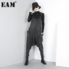 [Eem] 2020 yeni bahar sonbahar yüksek bel siyah gevşek büyük cep bölünmüş ortak Harem kot gevşek pantolon kadın tulum moda JO51