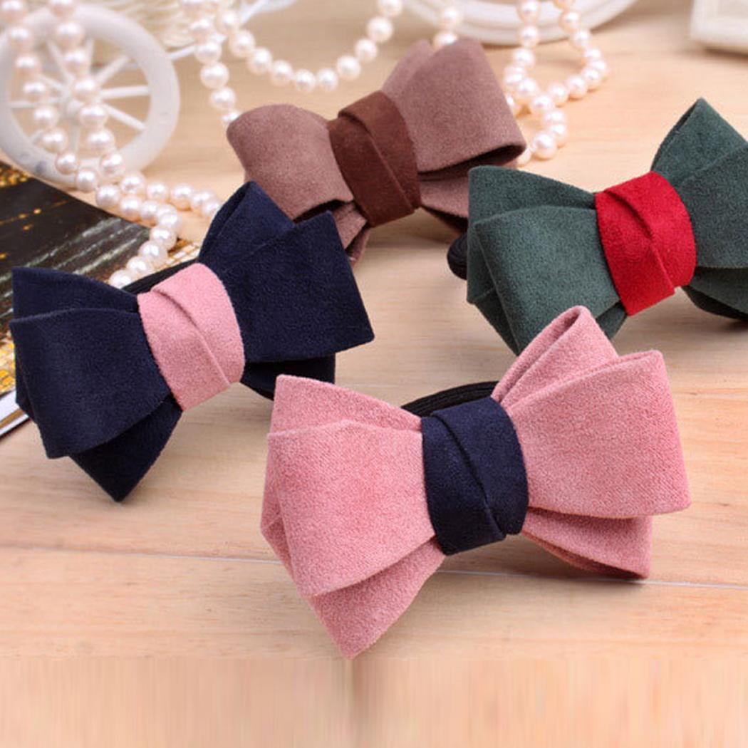 Apparel Accessories Women Fashion Headwear Elastic Headband Contrast Color Bow Available In Variety Of Colors Men's Headbands Ponytail Hair Casual Rope