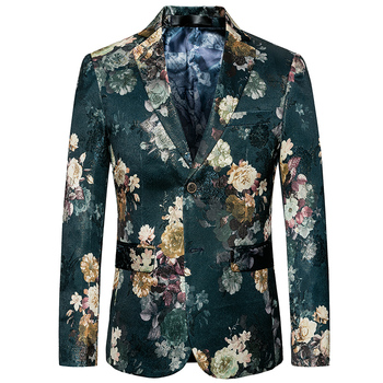 High quality long-sleeved men suit jacket business casual flower coat men slim fit men Blazer Asia size  S - 6XL