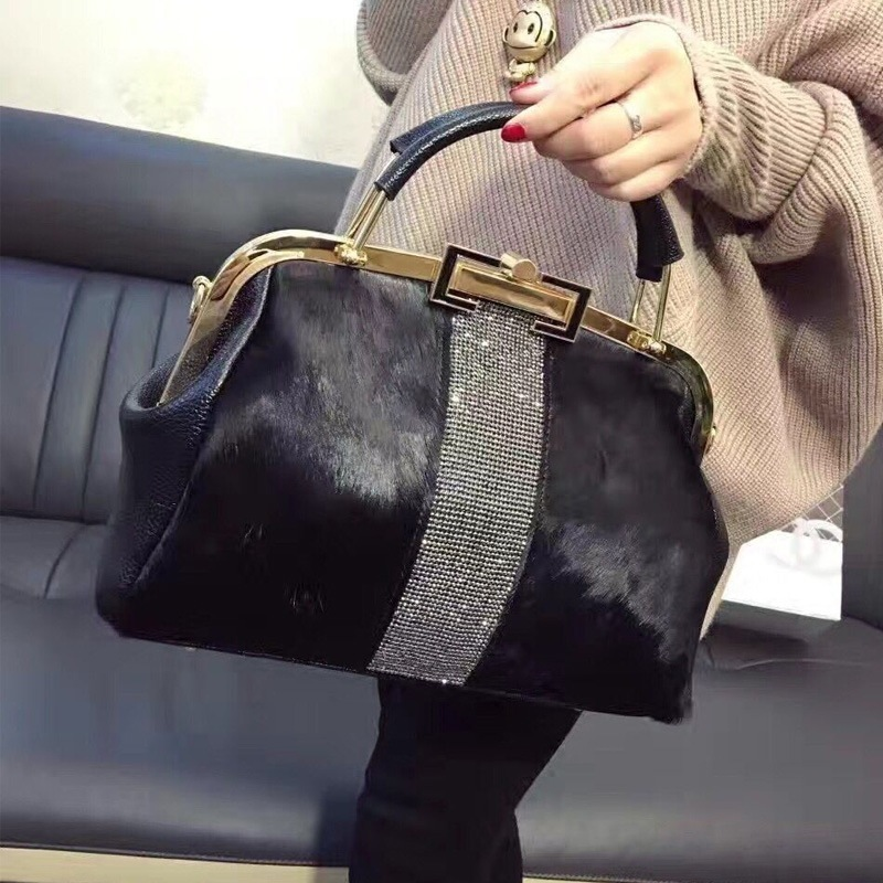 Winter Warm Horse Hair Woman Messenger Fur Bag Leather Tote