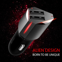USB Car Charger Dual 2 Port Micro Usb Cool Alien-look Mobile Phone Charging Lighter Slot