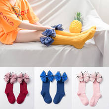 Baby Girl Socks Knee High ribbon Bows Princess Socks Cute Long Tube Booties Striped Socks for children baby Accessories(China)