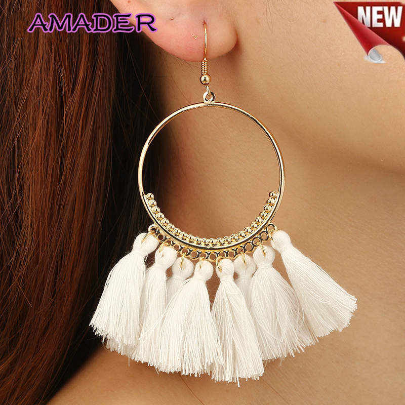 Amader Brincos Women Boho Drop Dangle 12 Colors Fringe Earring Vintage Ethnic Statement Tassel Earrings Fashion Jewelry Gifts