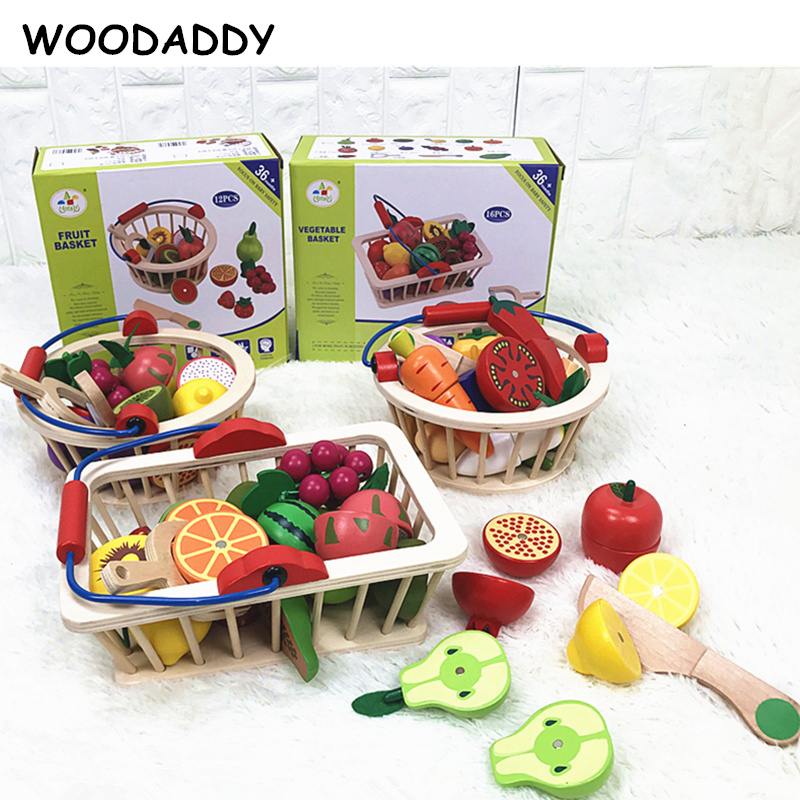 WOODADDY Baby Toys Strawberry Simulation Fruit Vegetable Cut Set Wooden Toys For Kids Children Kitchen Food Educational Gift