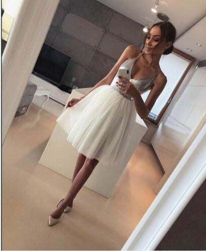2019 Arrival Women Silver Formal White Layers Mesh Sexy Deep V-Neck Low Cut Sequin Club Wear Evening Party Midi Princess Dress