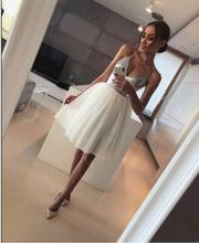2019 arrival Women Silver Formal White Layers Mesh Sexy Deep V-Neck Low Cut Sequin Club Wear Evening Party Midi Princess Dress(China)