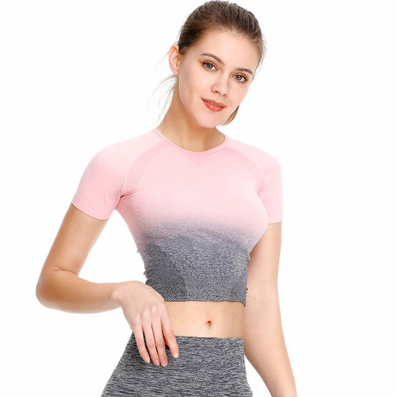 Wrench Self-Conscious New Seamless Gradient Tops Yoga Wear Womens Gym Fitness Sports Fashion Short-sleeved T-shirt