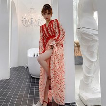 Long Sleeve Dress A-Line Boho Casual V Neck  Elegant Dresses Tropical Beach Vintage Maxi
