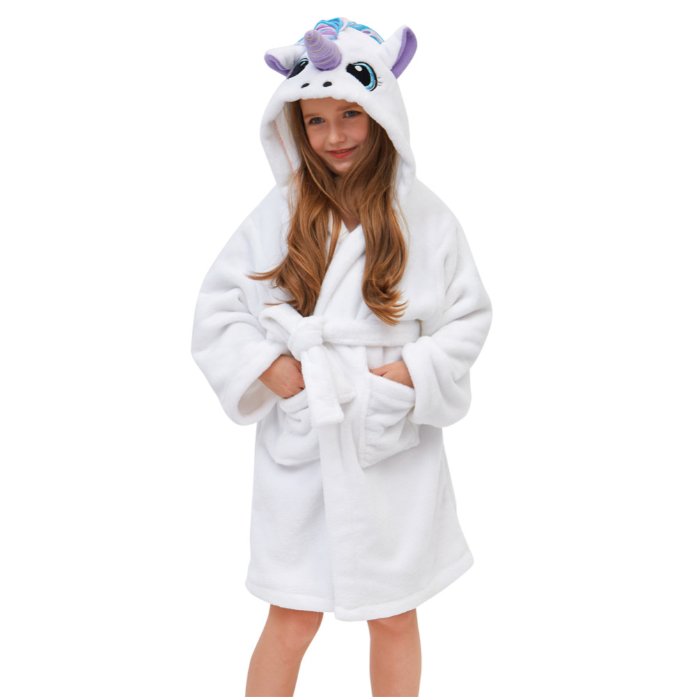 Fioday New Winter Cute Rainbow Bathrobes For Girls Pajamas Unicorn Pattern Hooded Towel Rope Warm Sleepwear For Children