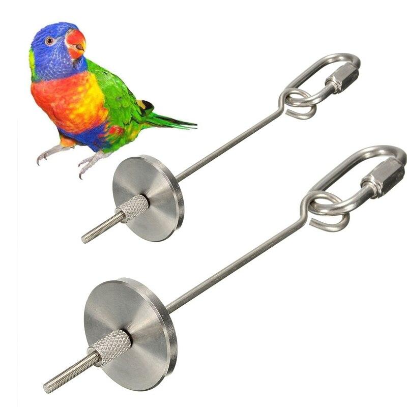 Silver Fruit Fork Feeder font b Pet b font Products Stainless Steel Parrot Bird Bird Feeding