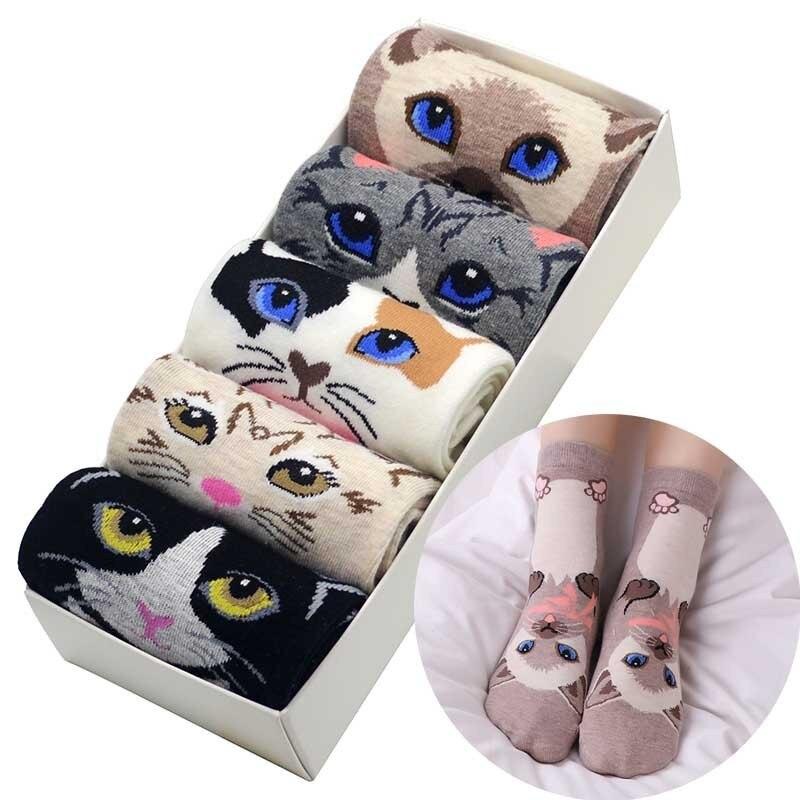 Cat Print Women   Socks   5 Pair/set Cute Cartoon Cat Cotton Women Crew   Socks   Animal Flat Funny   Socks   with Gift Box