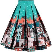 Vintage 1950s Women,s Skirts Elegant Printed Midi Skirt For Women  stylish Aline Pleated Flared Midi Skirts stylish knot print skirt for women