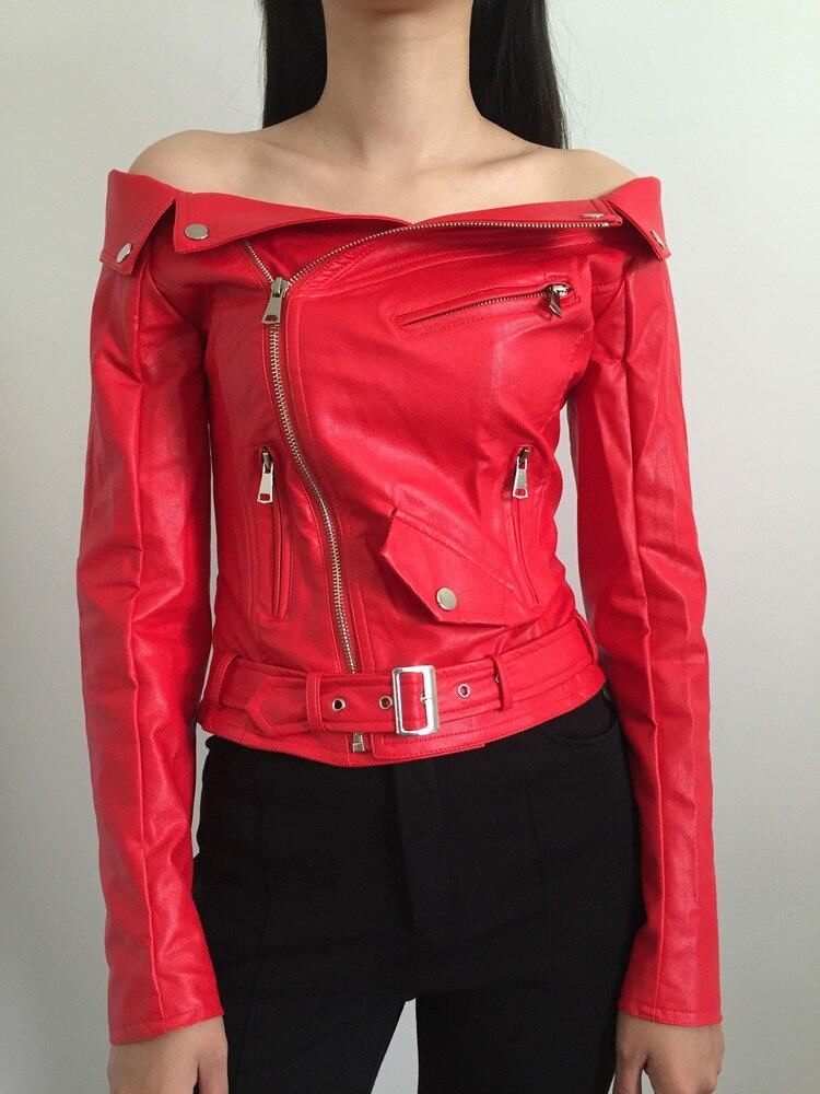 Women's Faux Leather Jackets Fashion Sexy Off Shoulder Soft PU Jacket Boat Collar Zipper Slim Autumn Motorcycle Coat Female 2019