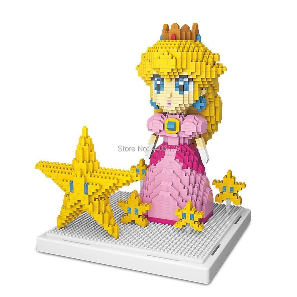 LegoINGlys creators Super Mario Bros Princess Peach Micro Diamond Building Blocks model Game figures Nanoblock bricks toys gift