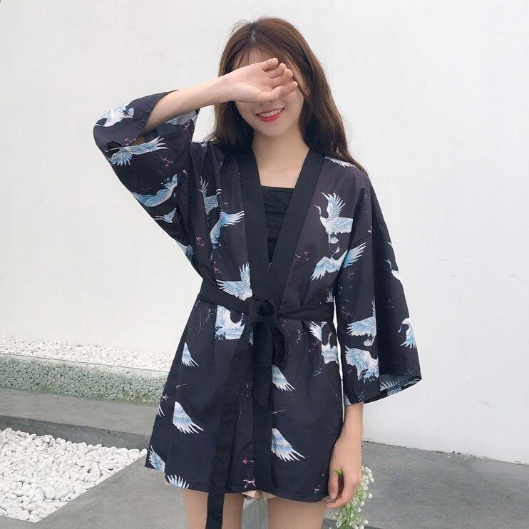 Women's Clothing #5469 Summer Women Printed Kimono Shirts Casual Harajuku Kimono Femme Blouses Loose Black Red Long Chiffon Shirt Tunic Sunscreen For Sale