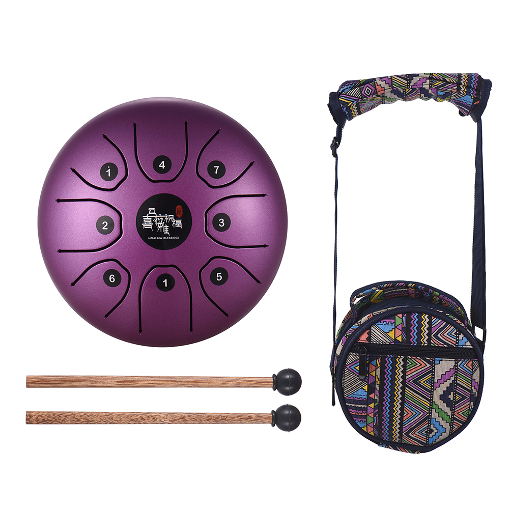 5.5 Inch Tongue Drum 8-Tone Steel Tongue Drum C Key Percussion Instrument Hand Pan Drum with Drum Mallets Carry Bag