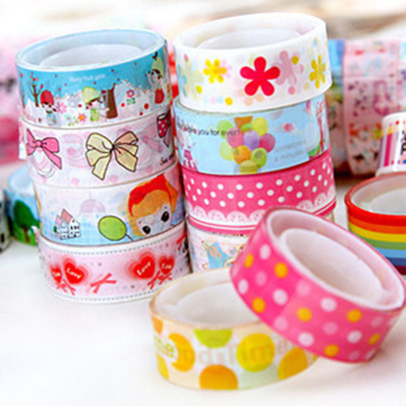 10pcs Mixed Colors Japanese Washi Tape Hobby Decorative Crafting Tape Scrap Cute