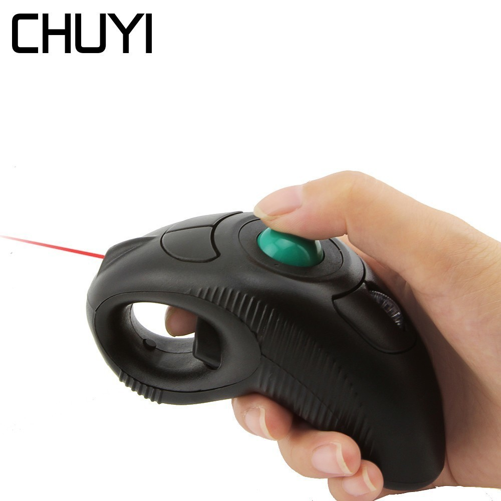 2.4 Ghz Sans Fil Air Doigt À main Trackball Souris Portable 1600 DPI Main Mause Avec pointeur laser Pour PC Portable enseignement