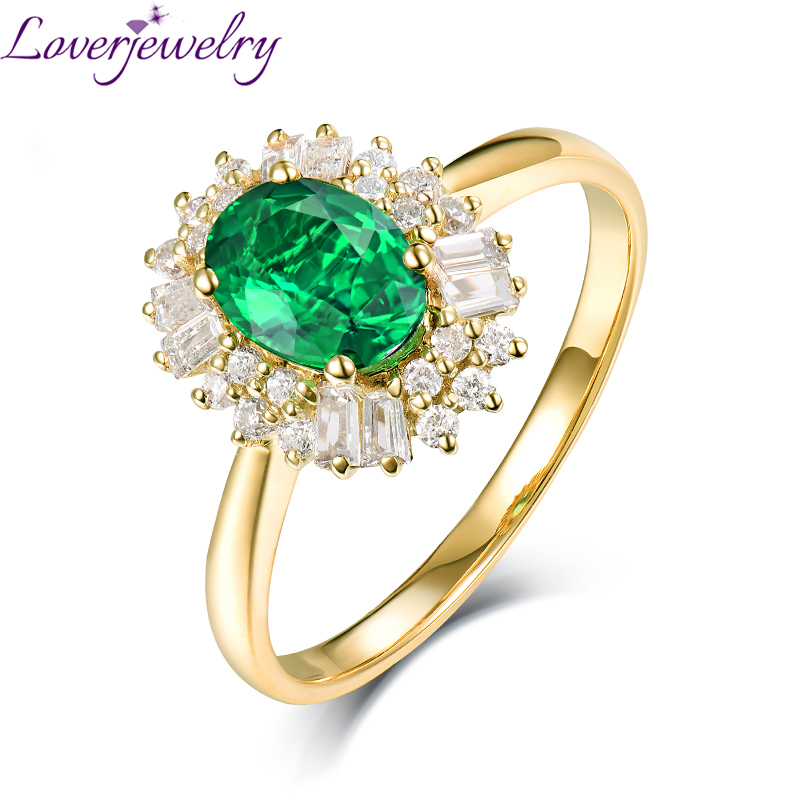 Loverjewelry Natural Diamond Real 14K Yellow Gold Oval Emerald Rings Luxury Jewelry 0 8ct Good Quality