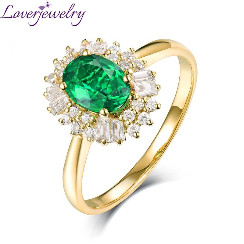 Takı ve Aksesuarları'ten Halkalar'de Loverjewelry Doğal Elmas Gerçek 14 K Sarı Altın Oval Zümrüt Yüzük Lüks Takı 0.8ct Için Iyi Kalite Taş Kız Yüzük'da  Grup 1