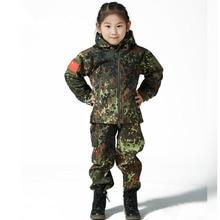 Уличная камуфляжная Водонепроницаемая детская тактическая куртка TAD из кожи акулы, флисовая куртка для охоты, Детская армейская одежда A9290