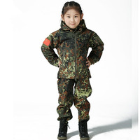 Outdoor Camouflage Waterproof Children TAD Tactical Shark Skin Softshell Hunting Jacket Kids Army Clothes A9290