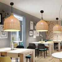 Moderno rattan luz pingente e27 lâmpada casa sala de chá decoração luminária artesanal barra cobertura da lâmpada iluminação interior|Luzes de pendentes| |  -