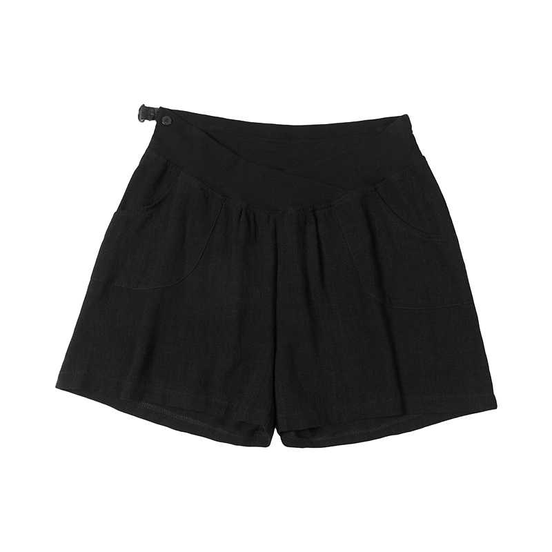 2020 summer low-rise comfortable pregnant women belly shorts adjustale waist maternity cotton and linen short pants black/beige