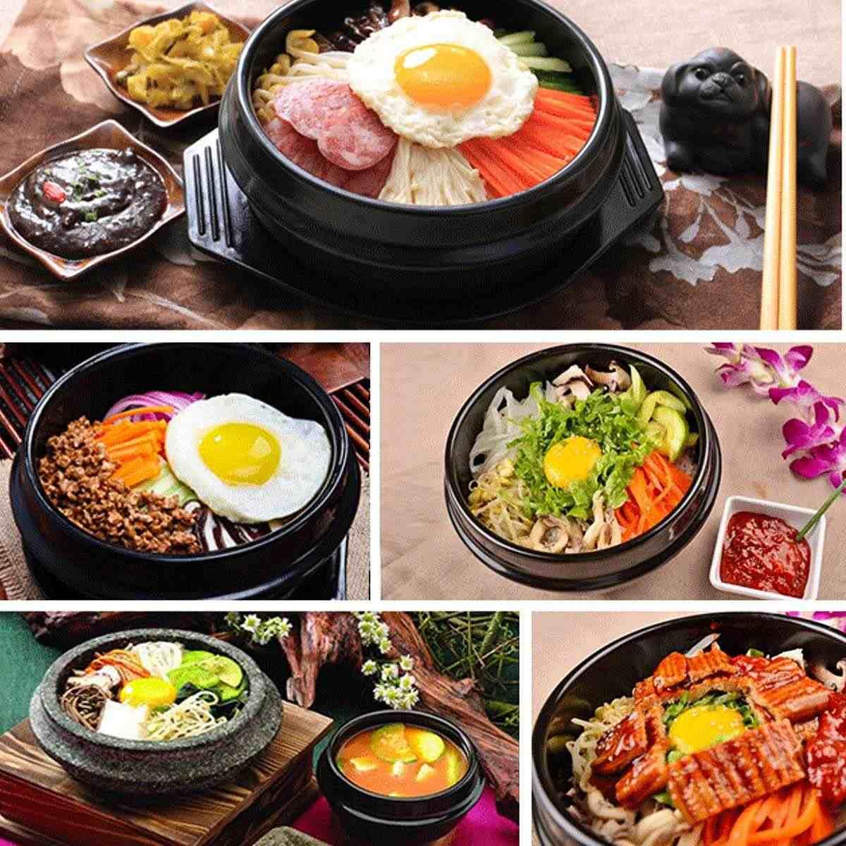 16cm czarny klasyczny koreański kamień garnek kuchnia ustawia ceramiczny kamień miska garnek dla Bibimbap ceramiczna zupa Ramen miski ryż duży rozmiar