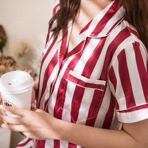 Image 5 - 2019 wiosna kobiety piżamy zestawy z szorty piżamy satynowe Pijamas w stylu Casual, w paski piżama Femme Silk Pijama Mujer Homewear