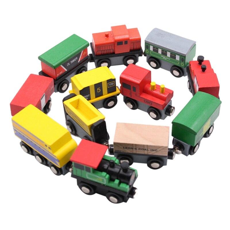Ensemble de Train en bois pour enfants 12 pièces Train ensemble de jouets magnétiques pour enfants ensemble de Train de jouets pour enfants cadeau pour enfants-boîte d'emballage exquise